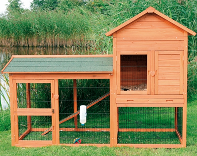 A combined guinea pig hutch and run